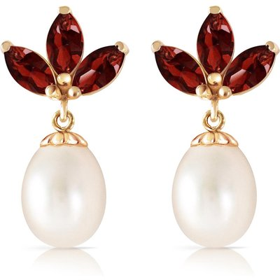 Pearl and Garnet Petal Drop Earrings 9.5ctw in 9ct Gold