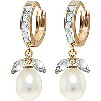 Aquamarine and Pearl Dewdrop Huggie Earrings 10.3ctw in 9ct Gold