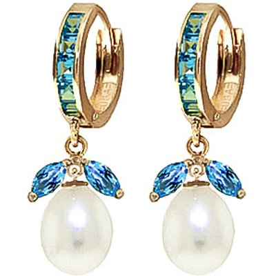 Blue Topaz and Pearl Dewdrop Huggie Earrings 10.3ctw in 9ct Gold