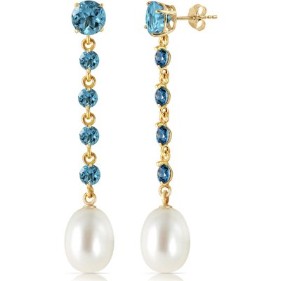 Blue Topaz and Pearl by the Yard Drop Earrings 10.0ctw in 9ct Gold