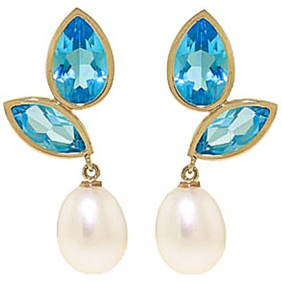 Blue Topaz and Pearl Petal Drop Earrings 16.0ctw in 9ct Gold