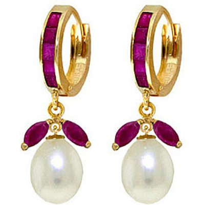 Ruby and Pearl Dewdrop Huggie Earrings 10.3ctw in 9ct Gold