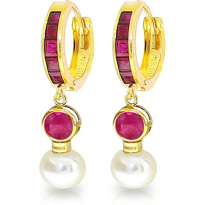 Ruby and Pearl Huggie Earrings 4.65ctw in 9ct Gold