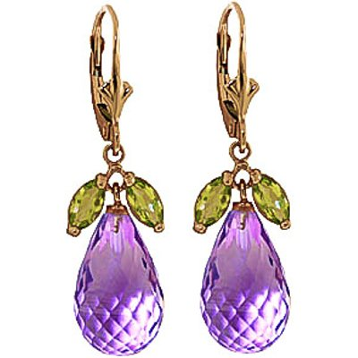 Amethyst and Peridot Snowdrop Earrings 15.0ctw in 9ct Gold