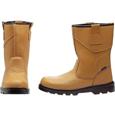 Draper Mens Rigger Style Safety Boots Tan Size 9