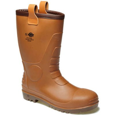 Dickies Mens Groundwater Safety Wellington Boots Brown Size 8