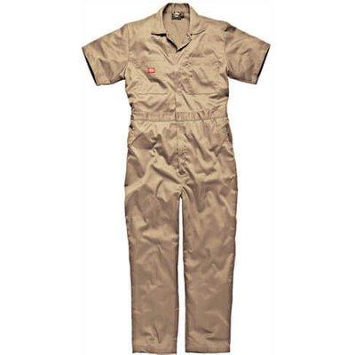 Dickies Mens Lightweight Cotton Short Sleeve Overalls Khaki 3XL