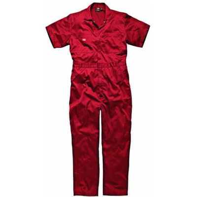 Dickies Mens Lightweight Cotton Short Sleeve Overalls Red M
