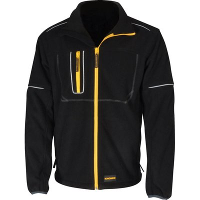Roughneck Mens Wind Blocker Fleece Jacket with Reflective Piping Black M