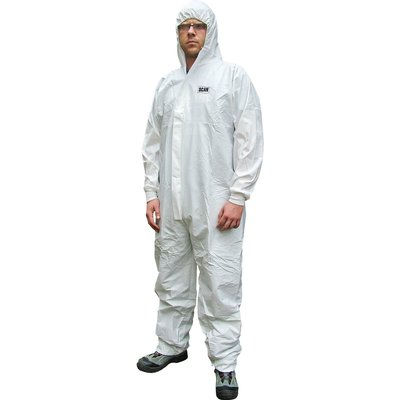 Scan Chemical Splash Resistant Disposable Overalls White L