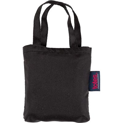 totes Plain Black Print Shopping Bag