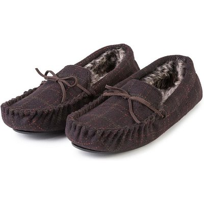totes Men's Fur Lined Check Moccasin Slipper Brown Large (UK 10-11)