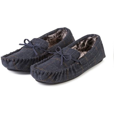 totes Men's Fur Lined Check Moccasin Slipper Navy Large (UK 10-11)