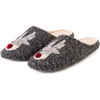 totes Mens Reindeer Novelty Mule Slippers Grey Large (UK 11-12)