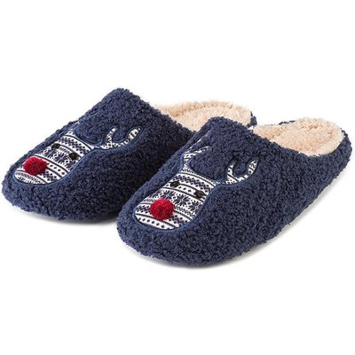 totes Mens Reindeer Novelty Mule Slippers Navy Large (UK 11-12)