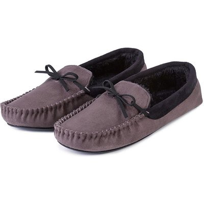 totes Mens Suedette Moccasin Slippers Grey Large (UK 10-11)