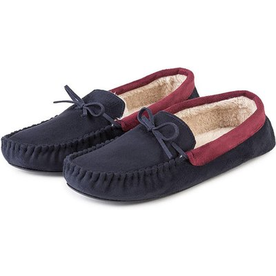 totes Mens Suedette Moccasin Slippers Navy Large (UK 10-11)
