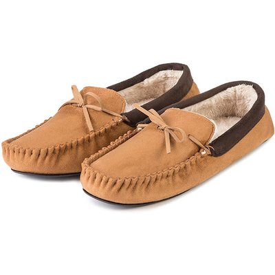 totes Mens Suedette Moccasin Slippers Tan Large (UK 10-11)
