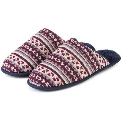 totes Mens Fair Isle Knit Mule Slippers Navy/Berry Large (UK 11-12)