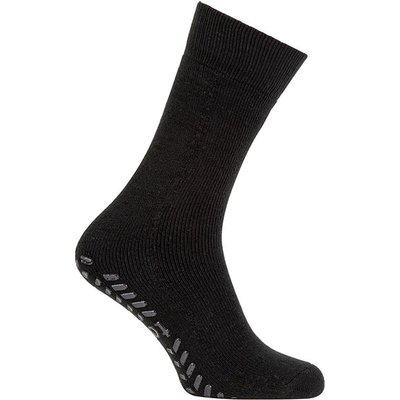 totes Mens Original Slipper Socks Plain Black One Size