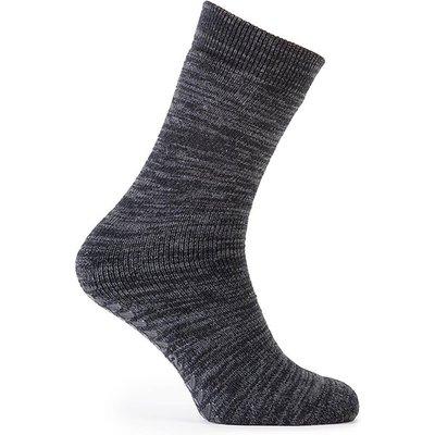 totes Mens Original Slipper Socks Black Marl One Size