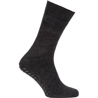 totes Mens Original Slipper Socks Plain Charcoal One Size