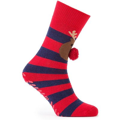 totes Mens Original Slipper Socks Reindeer One Size
