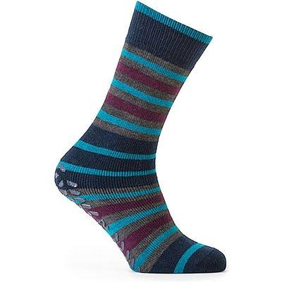 totes Mens Original Slipper Socks Teal/Stripe One Size