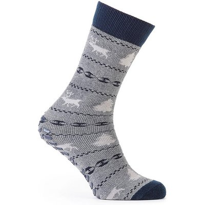 totes Mens Original Slipper Socks (Twin Pack) Grey Fairisle One Size