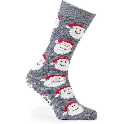 totes Mens Original Slipper Socks (Twin Pack) Santa/Pudding One Size