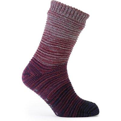 totes Men's Space Dye Marl Knit Slipper Socks Berry/Blue One Size