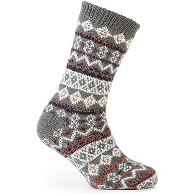 totes Mens Sherpa Lined Fair Isle Slipper Socks Grey Fairisle One Size