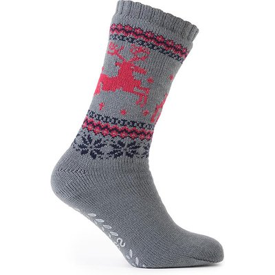 totes Mens Sherpa Lined Fair Isle Slipper Socks Grey Stag One Size