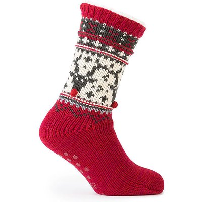 totes Men's Chunky Knit Fairisle Slipper Socks Red Reindeer One Size