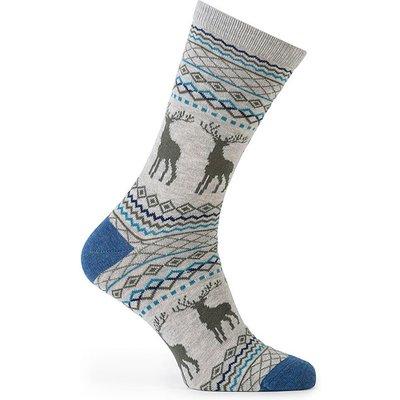 totes Mens 2 Pack Cracker Socks Stag/Stripe Blue One Size