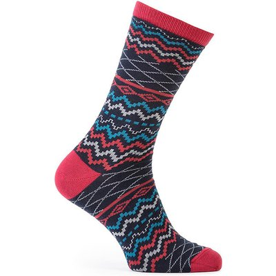 totes Mens 2 Pack Cracker Socks Stag/Stripe Red One Size