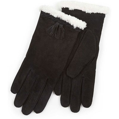 Isotoner Ladies Suede Glove with Plait & Tassles Black Medium