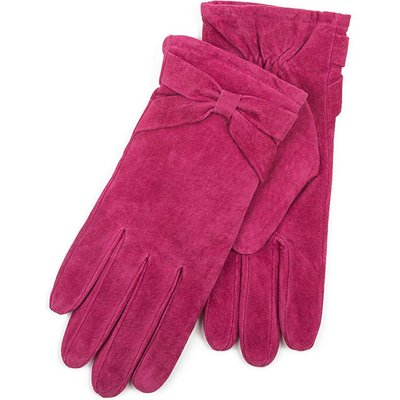 Isotoner Ladies Suede Glove with Bow Detail Berry Small