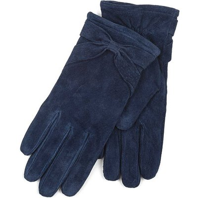 Isotoner Ladies Suede Glove with Bow Detail Navy Small