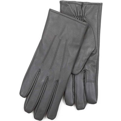 Isotoner Ladies 3 Point Waterproof Leather glove Grey Medium