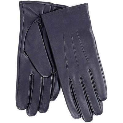 Isotoner Ladies 3 Point Waterproof Leather glove Navy Large