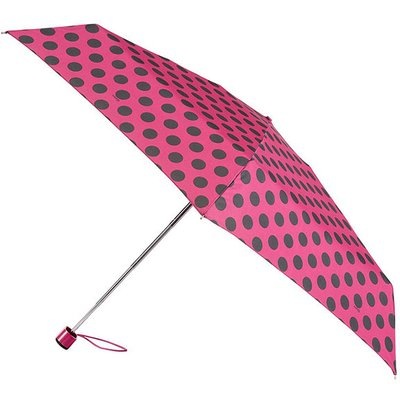 totes Miniflat Raspberry/Black Big Dot Print Umbrella (5 Section)