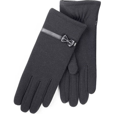Isotoner Ladies Basic Thermal PU Gloves with Bow Black One Size
