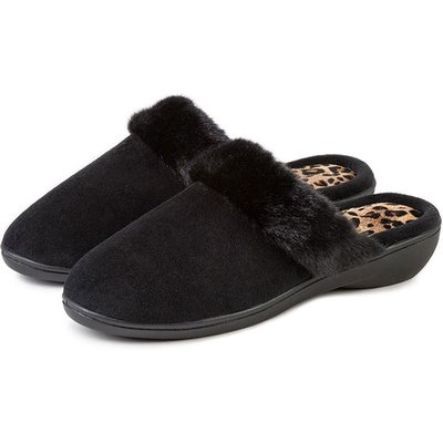 Isotoner Ladies Heeled Velour Mule With Fur Cuff Slippers Black with Animal UK Size 7
