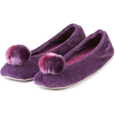 Isotoner Ladies Velour Ballerina Slippers with Pom Pom Slippers Purple XL (UK 7-8)