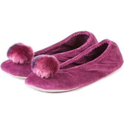 Isotoner Ladies Velour Ballerina Slippers with Pom Pom Slippers Wine XL (UK 7-8)