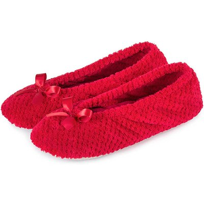 Isotoner Ladies Popcorn Ballet Slippers Red Large (UK 5-6)