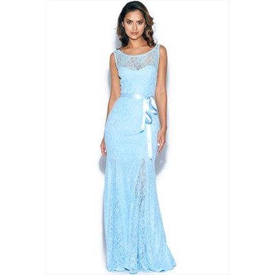 Lace Maxi Dress with Ribbon Tie