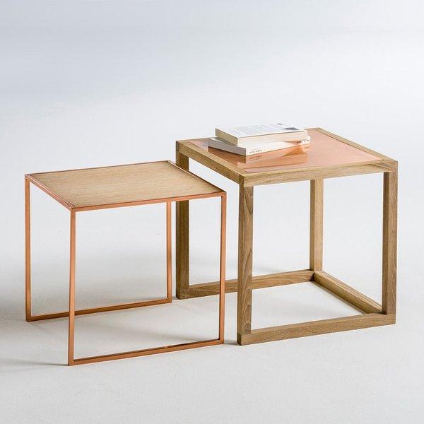 6. Nest of 2 Elori Oak/Copper Occasional Tables: £185, La Redoute