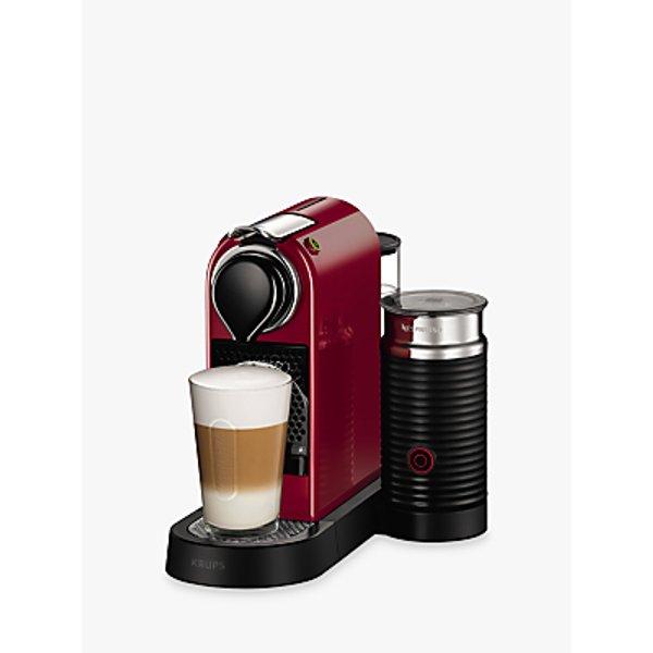 12. Nespresso CitiZ & Milk Coffee Machine by KRUPS with Milk Frother, Cherry Red: £189, John Lewis
